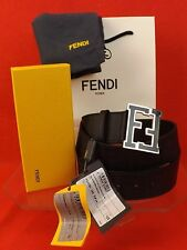 NWT FENDI BLACK COLLEGE LEATHER ZUCCA BLACK FF LOGO BUCKLE BELT 105 42 $400