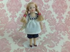 Dollhouse Miniature Porcelain Little Braids Girl Poseable Doll with Stand 1:12