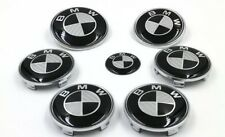 7pc Black/Silver Carbon Fiber Style Emblem Logo Badge Set For BMW