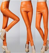 Women Sexy Skinny Slim Stretch Pull On Faux Leather Pants Tight High Waist S-2XL