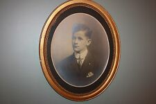 Antique Oval Portrait Photo Frame Wood Young Man Boy Teen beaded 22 x 18 beads