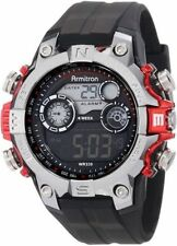 Armitron Men's Black Resin Digital Watch, 100 Meter WR, Chronograph, 40/8251RED