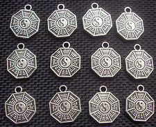 10 Yin and Yang Hexagram Charms Tao IChing Silver Tone Metal