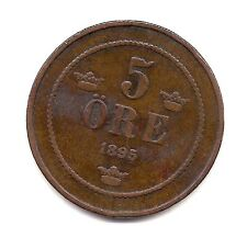 1895 Sweden Five Ore-Very Nice Coin!