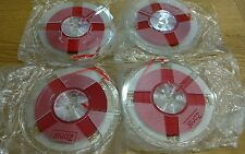 "4 x Reel of zonal 1/4"" red  Leader Tape on cracked spools"