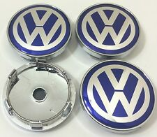 4 x VOLKSWAGEN ALLOY WHEEL BADGES CENTER HUB CAPS 60mm VW Golf Bora Passat BLUE