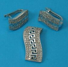 Solid 925 Sterling Silver CZ Set Earrings Pendant  Jewellery UK Hallmarked