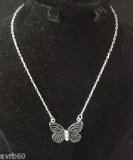 necklace butterfly pendant with aqua beads on16 inch silver colour chain  new