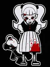 Bloody Zombie Girl With Teddy Bear Walking Dead Family Vinyl Decal Sticker