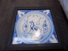 Antique Dutch Delft animal dog tile rare