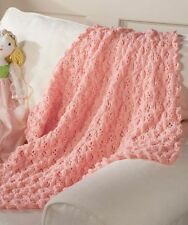 "Aran Baby Princess Blanket with Shell Edge 35"" x 38""  Knitting Pattern"