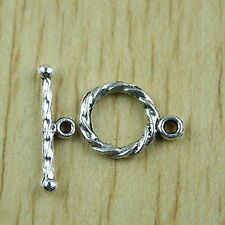 35sets Tibetan silver curved toggle clasps h1589