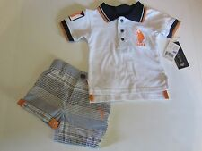 NWT U.S. Polo Assn. 2 Pc Collared Shirt & Shorts Baby Infant Boys 6-9 M $32