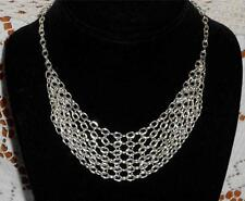 SILVER METAL 6 ROW CHAIN LINKED MESH NET BIB COLLAR CHOKER SILVER TONE NECKLACE
