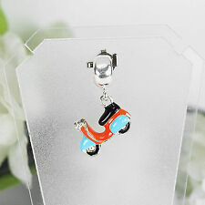 Solid 925 Sterling Silver Vespa Enamel Dangle Charm Bracelet (scm32)