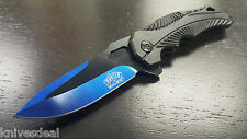 Ballistic Assisted Spring Action Opening Knife - Black Blue Blade