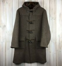 Vintage Traditional British Duffle Coat Men's Wool Jacket Brown Hooded UK M