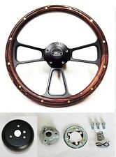 "75-77 Bronco 70-77 F-150 F-250 F-350 Dk Pine & Black steering wheel 14"" Ford cap"