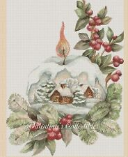 Cross Stitch CHRISTMAS SNOW GLOBE SCENE - COMPLETE KIT #4-386 (Large Print)