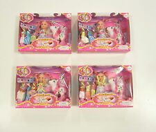 """4 NEW DOLL AND PONY SETS 4"""" SIZE EXTRA DRESSES AND WAND GIRLS KIDS PLAYYSET"""