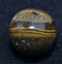 "Hand Ground Tiger Eye Gem Marble Mint 23/32"" lot# MAR 79"