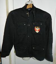RARE Rugby Ralph Lauren Polo Black Biker Crest Cargo Jacket Coat Men's Size XS
