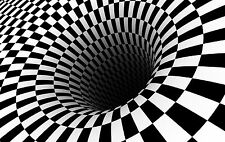 Framed Print - Optical Illusion Checkered Black & White Hole (Picture Poster Art
