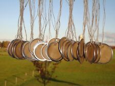 100 Large Metal Rim Hang Tags, coffee stained, blank tags, sized 1 9/16""