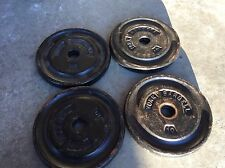 4 10 Lb weight York  lifting dumbbell barbell plates 1 inch hole