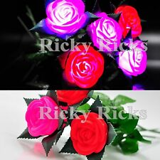 Light Up Rose Valentine's Wedding Mothers Day Flashing Blinking LED Gift Pink