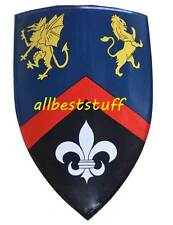 "Crusader Medieval Metal shield Painted 27 X 20"" Viking shield 13th cent."