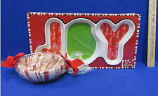Christmas Joy Candy Dish Hersheys & Peppermint Dip Bowl Spreader Hallmark Lot 2