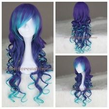 Women Costume Wig Anime Wigs Ombre Blue Mix Purple Long Curly Synthetic Cosplay