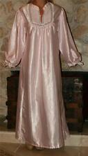 L BABY PINK VINTAGE SATIN LINGERIE GRANNY SLIP LONG SLEEVE NIGHTGOWN
