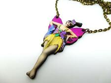 "VIBRANT 1930's DANCER WITH WINGS FLAPPER GIRL WOODEN 18"" ANTIQUE BRONZE NECKLACE"