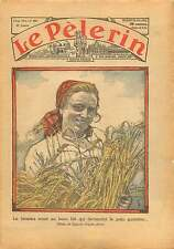 Portrait Fermière Gerbe de Blé Pain Farmer Sheaf Wheat France 1934 ILLUSTRATION
