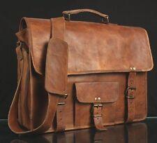 Mens Womens Genuine Leather Handbag Briefcase Laptop Shoulder Bag Messenger Bag