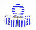 12pc. Marc Blackwell Fine Porcelain Awnings Blue Striped Coffee Cups & Saucers.