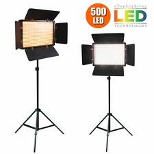 2X500 LED Studio Video Continuous Light Lamp For Camera Camcorder 3200K- 5600K