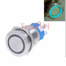 12v 19mm Metal Push Button Switch Latching on/off Blue LED Waterproof Flat head