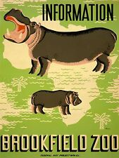 ADVERTISING EXHIBITION BROOKFIELD ZOO HIPPO AFRICA ART POSTER PRINT LV753
