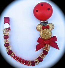 ❤ PERSONALISED - Your Name Choice ❤ Dummy Clip ❤ CHRISTMAS Red & Gold Sparkle ❤