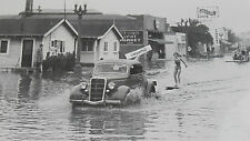 "12 By 18"" Black & White Picture 1935 Ford pulling skiers in flood water 1935"