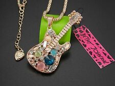 Gold-plated jewelry!Shiny crystal gem guitar pendant Necklace # F142
