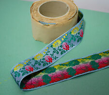vintage 1940s Swiss floral embroidered woven satin ribbon