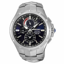 New Seiko SSC375 Solar Coutura Chronograph Stainless Steel Men's Watch