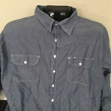 Key Imperial Mens Blue Grey Long Sleeve Button Down Work Shirt Big and Tall 4XLT