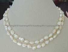 Long 25 Inches Natural 7-8mm baroque white freshwater pearl necklace  H--0044