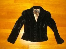 NEW J PETERMAN sz 4 black velvet short jacket with covered buttons