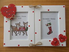 Personalised Gift Christmas Nanny And Grandad Double Standing Photo Frame 6x4